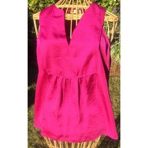 Maeve anthropologie Sleeveless v Blouse 6 Fushia